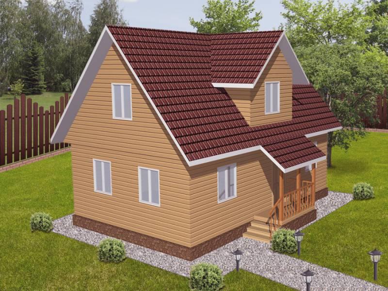 Дом 6Х9 каркасный двухэтажный 3-фронтонный