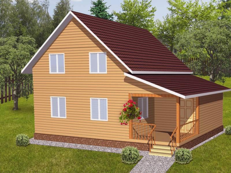Дом 7Х8 (1,5) каркасный двухэтажный с пристройкой
