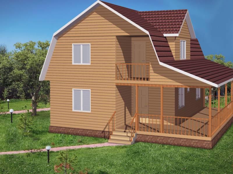 Дом 7Х9 каркасный двухэтажный с верандой 2,5Х9
