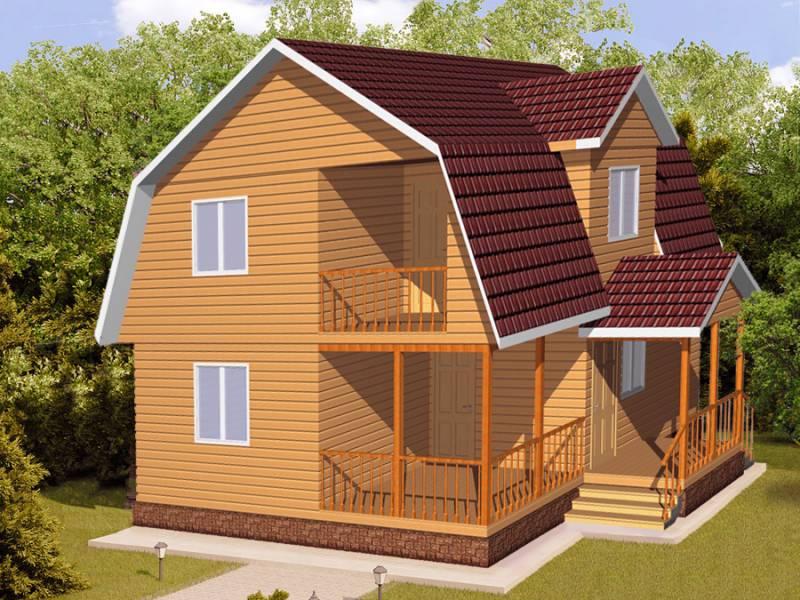 Дом 7Х8 каркасный двухэтажный с крыльцом
